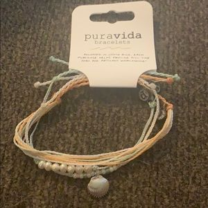 Pastel sea shell and pearl bracelet stack